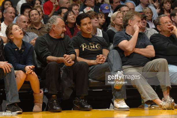 Actor Mario Lopez watches a game from courtside between the Orlando Magic and the Los Angeles Lakers at Staples Center on January 16 2009 in Los...