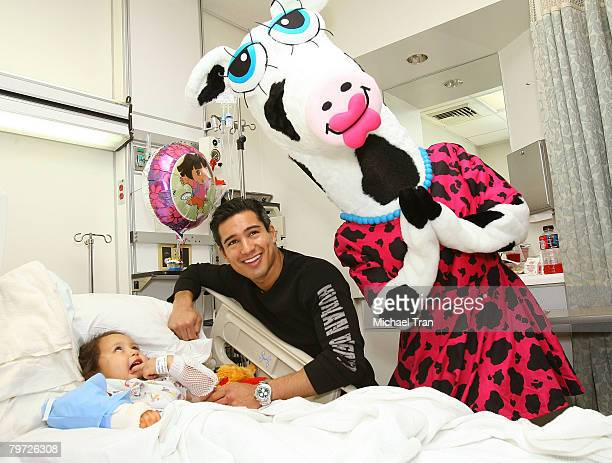 Actor Mario Lopez with pediatric patient Amanda Mendez and Miss MaggieMoo of MaggieMoo's Treatery celebrate Valentines Day in the pediatric ward at...