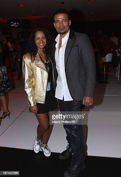 Actor Mario Van Peebles and Chitra Sukhu Van Peebles attend the STA Post Reception in the Orleans Club Lounge sponsored by Malibu Red featuring DJ...
