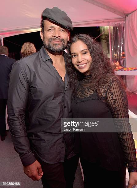 Actor Mario Van Peebles and Chitra Sukhu Van Peebles attend the Primary Wave 10th Annual PreGrammy Party at The London West Hollywood on February 14...