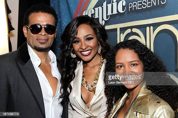 Actor Mario Van Peebles producer Janell Snowden and Chitra Sukhu Van Peebles attend the Soul Train Awards 2013 at the Orleans Arena on November 8...