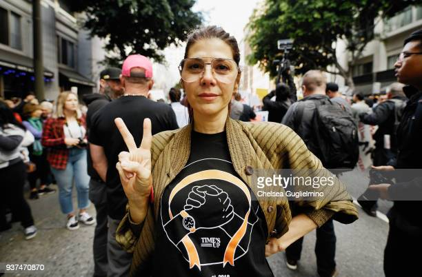 Actor Marisa Tomei participates in March For Our Lives Los Angeles on March 24 2018 in Los Angeles California