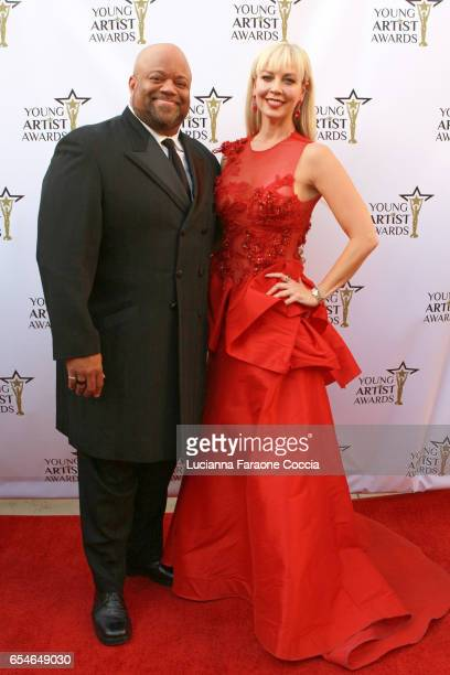 Actor Mark Christopher Lawrence and TV presenter Liz Fuller attend the 38th Annual Young Artists Awards at Alex Theatre on March 17 2017 in Glendale...