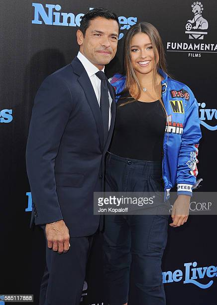 Actor Mark Consuelos and daughter Lola Consuelos arrive at the Los Angeles Premiere Nine Lives at TCL Chinese Theatre on August 1 2016 in Hollywood...