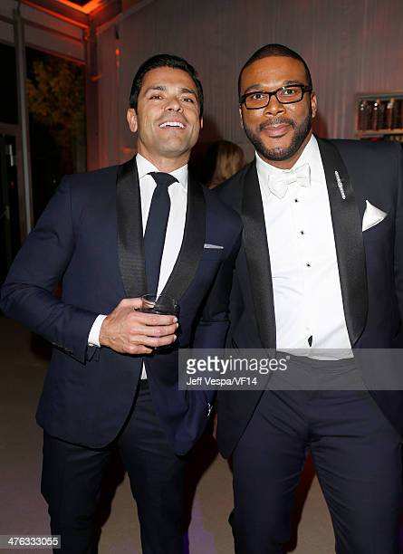 Actor Mark Consuelos and producer/director Tyler Perry attend the 2014 Vanity Fair Oscar Party Hosted By Graydon Carter on March 2 2014 in West...