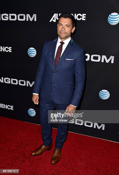 Actor Mark Consuelos attends the premiere of DIRECTV's Kingdom Season 2 at SilverScreen Theater at the Pacific Design Center on October 6 2015 in...