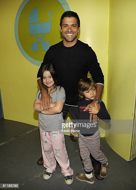 Actor Mark Consuelos daughter Lola Grace and son Joaquin attend Jessica Seinfeld's 2nd annual Baby Buggy Bedtime Bash at The Waterfront on May 20...