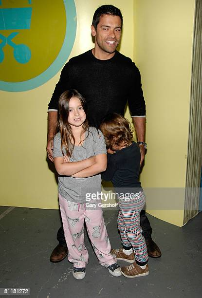 Actor Mark Consuelos daughter Lola Grace and son Joaquin attend the Baby Buggy Bedtime Bash at The Waterfront on May 20 2008 in New York City