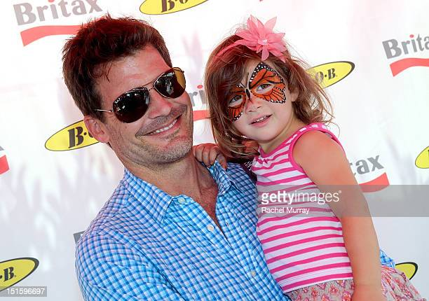Actor Mark Deklin and daughter Kylie Deklin attend the Red CARpet event hosted by Britax and Ali Landry at SLS Hotel on September 8, 2012 in Beverly...