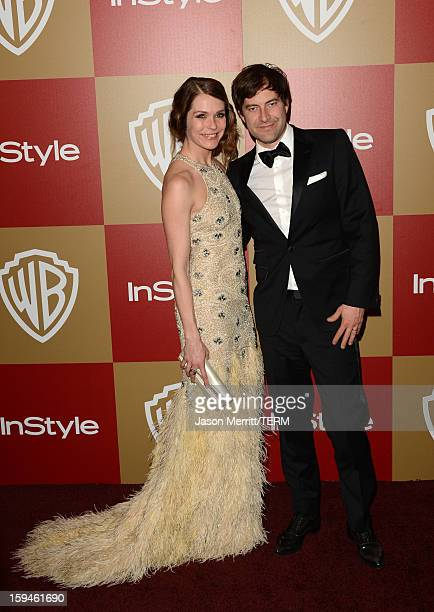 Actor Mark Duplass and guest attend the 14th Annual Warner Bros And InStyle Golden Globe Awards After Party held at the Oasis Courtyard at the...