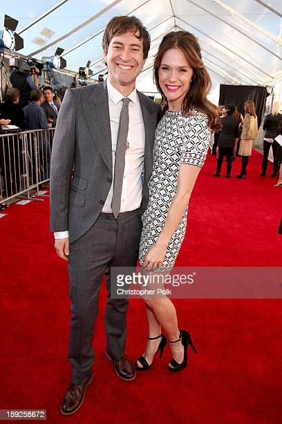 Actor Mark Duplass and Katie Aselton arrive at the 18th Annual Critics' Choice Movie Awards held at Barker Hangar on January 10 2013 in Santa Monica...