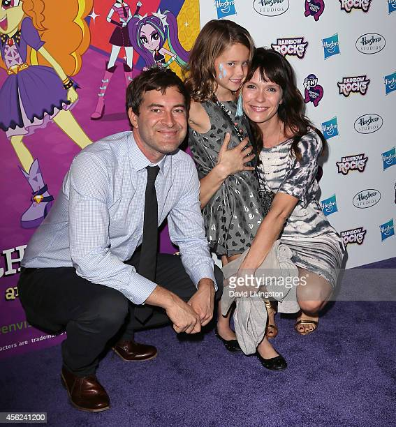 Actor Mark Duplass daughter Ora Duplass and wife actress Katie Aselton attend the premiere of Hasbro Studios' My Little Pony Equestria Girls Rainbow...