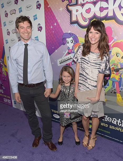 Actor Mark Duplass daughter Ora Duplass and wife Katie Aselton attend the premiere of My Little Pony Equestria Girls Rainbow Rocks at TCL Chinese...