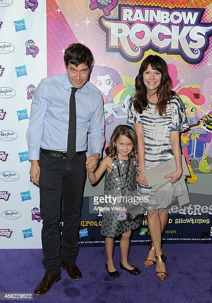 Actor Mark Duplass daughter Ora Duplass and wife Katie Aselton attend the premiere of Hasbro Studios' My Little Pony Equestria Girls Rainbow Rocks at...