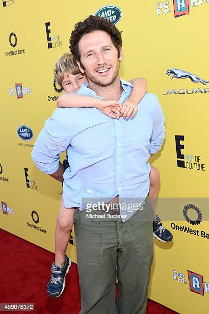 Actor Mark Feuerstein and Frisco Feuerstein attend PS ARTS presents Express Yourself 2014 with sponsors OneWest Bank and Jaguar Land Rover at Barker...