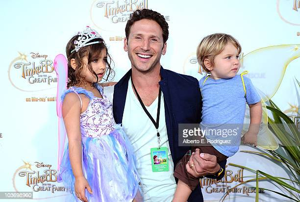 Actor Mark Feuerstein with children Lila and Frisco attend Picnic In The Park For Tinker Bell And The Great Fairy Rescue at La Cienega Park on August...