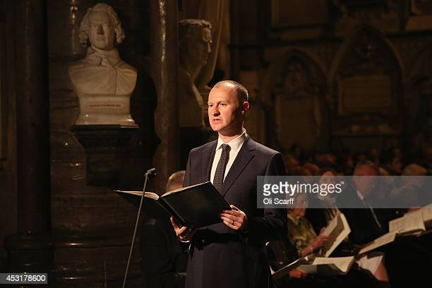 Actor Mark Gatiss delivers a speech during a candlelight vigil attended by the Duchess of Cornwall to mark the centenary of Britain's involvement in...