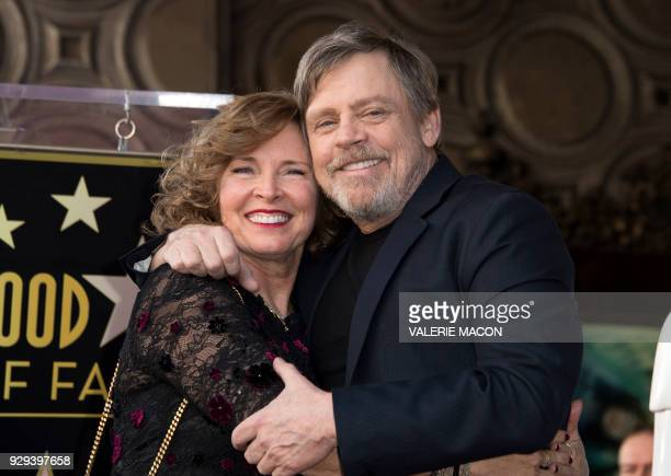 Actor Mark Hamill and his wife Marilou York attend the ceremony honoring Hamill with a star on the Hollywood Walk of Fame on March 8 in Hollywood...