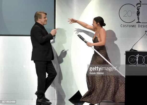 Actor Mark Hamill and host Gina Rodriguez onstage during the Costume Designers Guild Awards at The Beverly Hilton Hotel on February 20 2018 in...