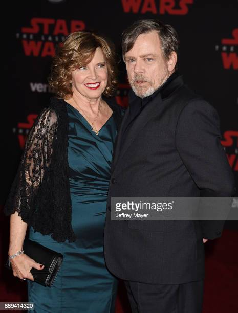 Actor Mark Hamill and Marilou Hamill attend the premiere of Disney Pictures and Lucasfilm's 'Star Wars The Last Jedi' at The Shrine Auditorium on...