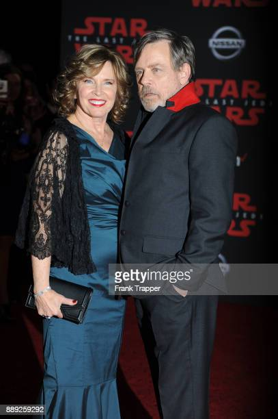 "Actor Mark Hamill and Marylou York attend the premiere of Disney Pictures and Lucasfilm's ""Star Wars: The Last Jedi"" held at The Shrine Auditorium on..."