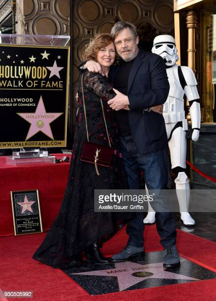 Actor Mark Hamill and wife Marilou York attend the ceremony honoring Mark Hamill with star on the Hollywood Walk of Fame on March 8, 2018 in...