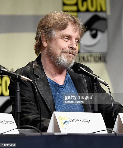 "Actor Mark Hamill at the Hall H Panel for ""Star Wars The Force Awakens"" during ComicCon International 2015 at the San Diego Convention Center on July..."
