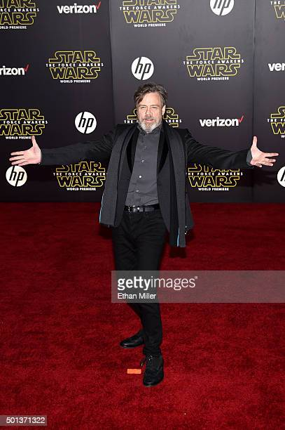 Actor Mark Hamill attends the Premiere of Walt Disney Pictures and Lucasfilm's Star Wars The Force Awakens at the Dolby Theatre on December 14 2015...