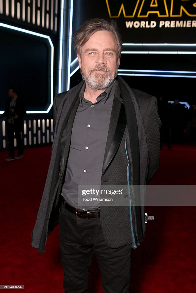 """Actor Mark Hamill attends the World Premiere of """"Star Wars: The Force Awakens"""" at the Dolby, El Capitan, and TCL Theatres on December 14, 2015 in Hollywood, California."""