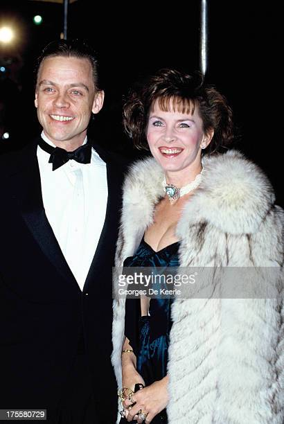 Actor Mark Hamill, best known for starring as Luke Skywalker in the Star Wars saga, and his wife Marilou York attend a premiere on February 11, 1989...