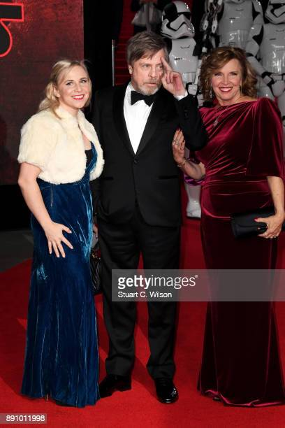 Actor Mark Hamill , his wife Marilou York and daughter Chelsea Hamill attend the European Premiere of 'Star Wars: The Last Jedi' at Royal Albert Hall...