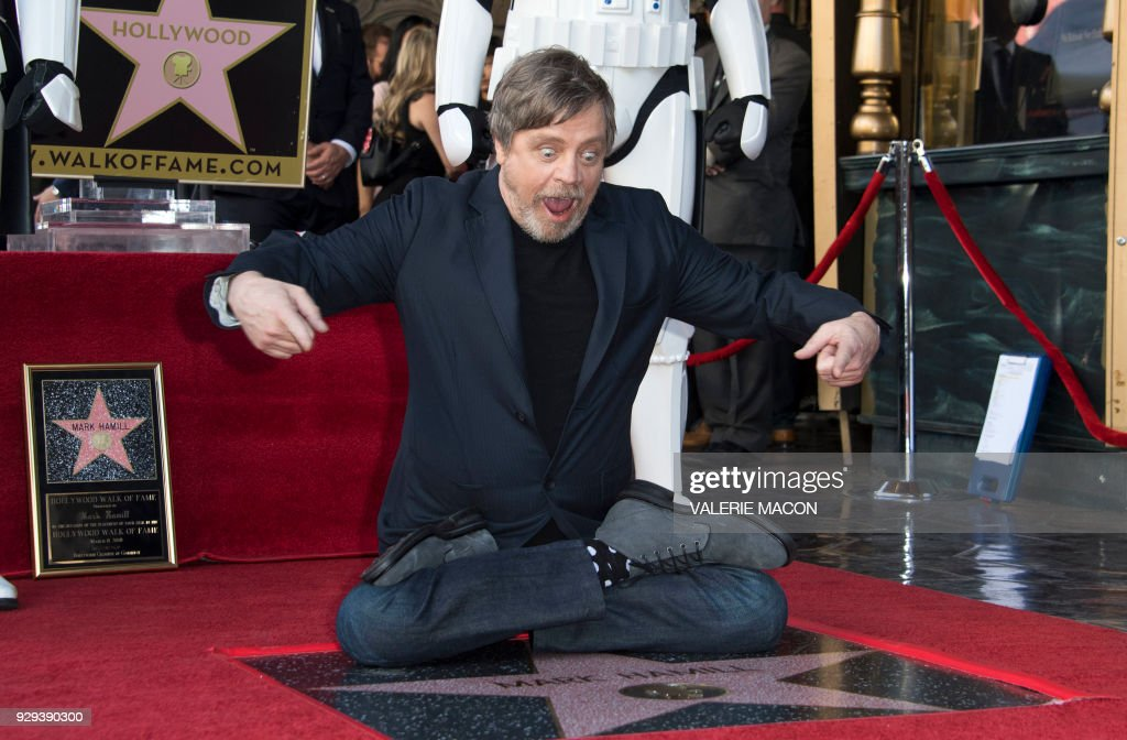 TOPSHOT - Actor Mark Hamill is honored with a star on the Hollywood Walk of Fame on March 8, 2018, in Hollywood, California. /