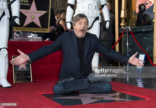 TOPSHOT Actor Mark Hamill is honored with a star on the Hollywood Walk of Fame on March 8 in Hollywood California / AFP PHOTO / VALERIE MACON
