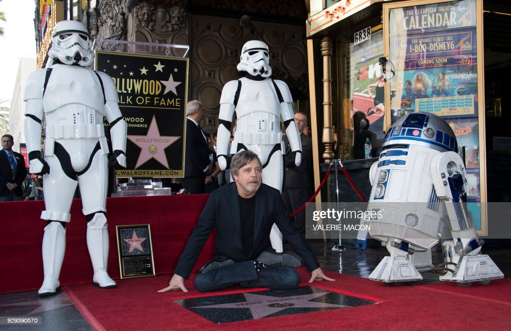 Actor Mark Hamill is honored with a star on the Hollywood Walk of Fame on March 8, 2018, in Hollywood, California. /