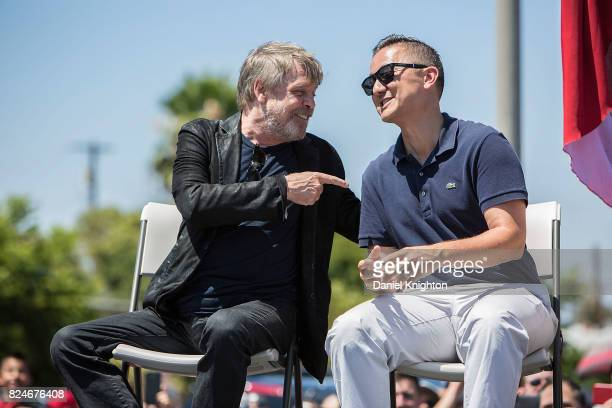 Actor Mark Hamill of Star Wars and San Diego City Council member Chris Cate appear on stage at a ceremony dedicating Mark Hamill Drive on July 30...