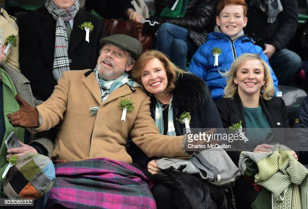 Actor Mark Hamill pictured with his wife Mary Lou Hamill and daughter Chelsea Hamill watch on as the annual Saint Patrick's day parade takes place on...