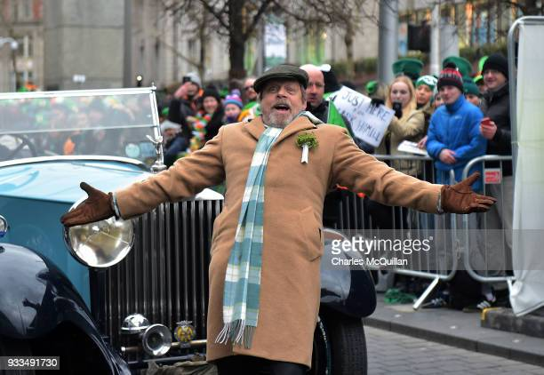 Actor Mark Hamill poses as he arrives as the annual Saint Patrick's day parade takes place on March 17 2018 in Dublin Ireland Dublin hosts the...