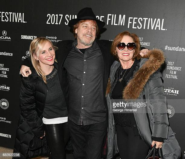 Actor Mark Hamill poses with his wife and daughter at the 'Brigsby Bear' Premiere at Eccles Center Theatre on January 23 2017 in Park City Utah