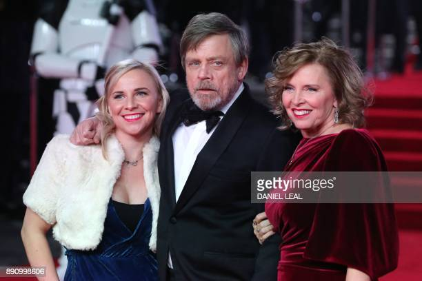 Actor Mark Hamill poses with his wife Marilou York and daughter Chelsea on the red carpet for the European Premiere of Star Wars: The Last Jedi at...