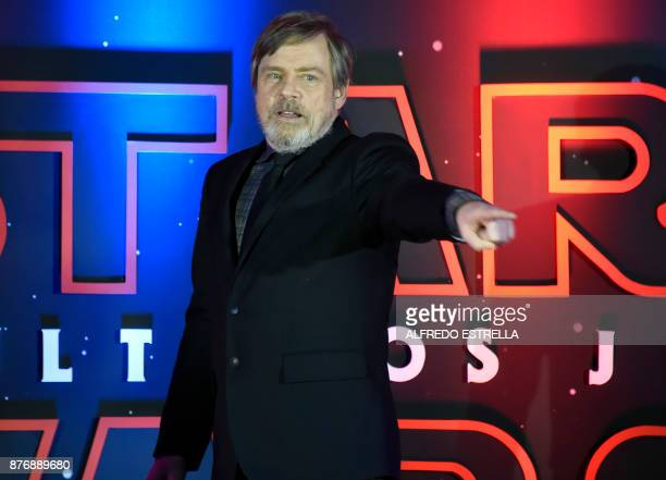 US actor Mark Hamill speaks during a red carpet for 'Star Wars the last Jedi' in Mexico City on November 20 2017 Mexico City is the first place for...