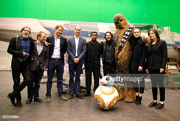 US actor Mark Hamill US director Rian Johnson Britain's Prince Harry Britain's Prince William Duke of Cambridge and British actor John Boyega pose...