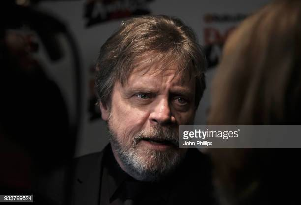 Actor Mark Hamill winner of the Empire Icon award is interviewed in the winners room at the Rakuten TV EMPIRE Awards 2018 at The Roundhouse on March...