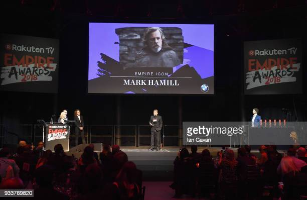 Actor Mark Hamill wins the EMPIRE Icon award during the Rakuten TV EMPIRE Awards 2018 at The Roundhouse on March 18 2018 in London England