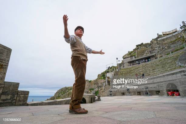 Actor Mark Harandon rehearsing alone at the open air Minack Theatre set in to the cliffs at Porthcurno, on June 26, 2020 in Cornwall, United Kingdom....