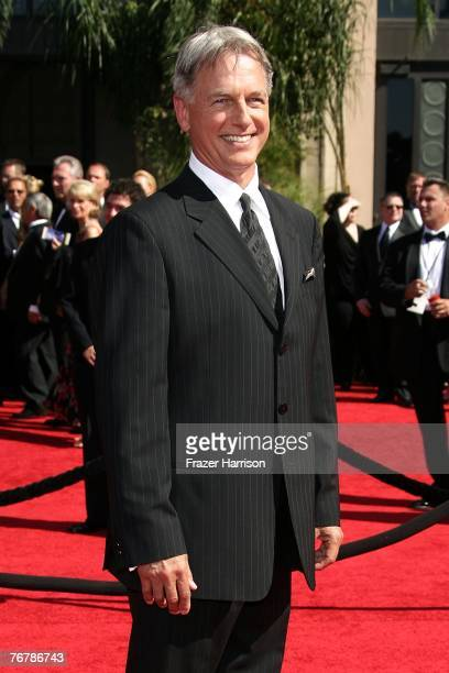 Actor Mark Harmon arrives at the 59th Annual Primetime Emmy Awards at the Shrine Auditorium on September 16 2007 in Los Angeles California