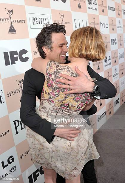 Actor Mark Ruffalo and actress Sunrise Ruffalo arrive at the 2011 Film Independent Spirit Awards at Santa Monica Beach on February 26 2011 in Santa...