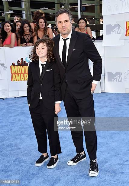 Actor Mark Ruffalo and Bella Noche Ruffalo attend The 2015 MTV Movie Awards at Nokia Theatre LA Live on April 12 2015 in Los Angeles California