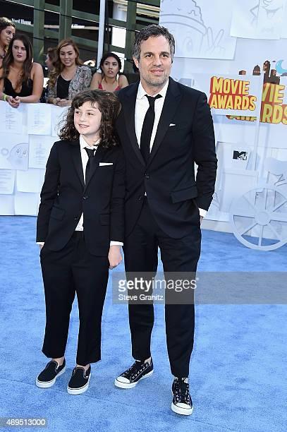 Actor Mark Ruffalo and Bella Noche Ruffalo attends the 2015 MTV Movie Awards at Nokia Theatre LA Live on April 12 2015 in Los Angeles California