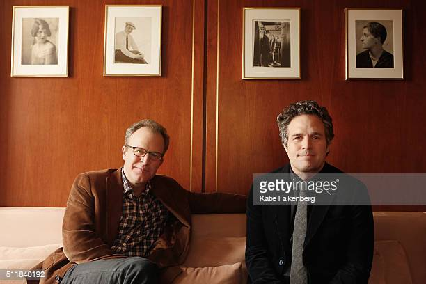 Actor Mark Ruffalo and director Tom McCarthy of 'Spotlight' are photographed for Los Angeles Times on February 2 2016 in Los Angeles California...