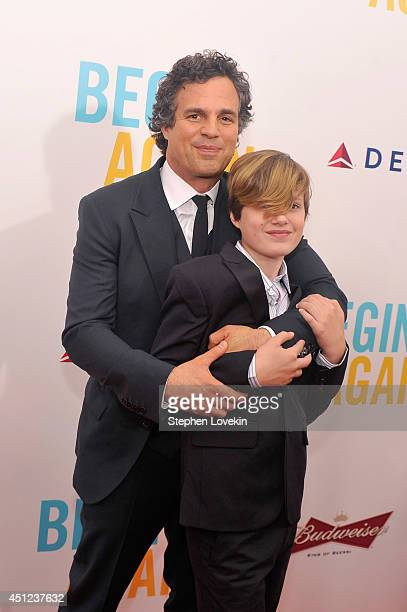 Actor Mark Ruffalo and son Keen Ruffalo attend the New York premiere of the Weinstein company's BEGIN AGAIN sponsored by Delta Airlines and Budweiser...